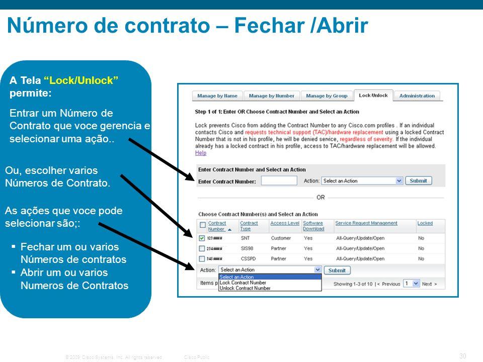 Número de contrato – Fechar /Abrir