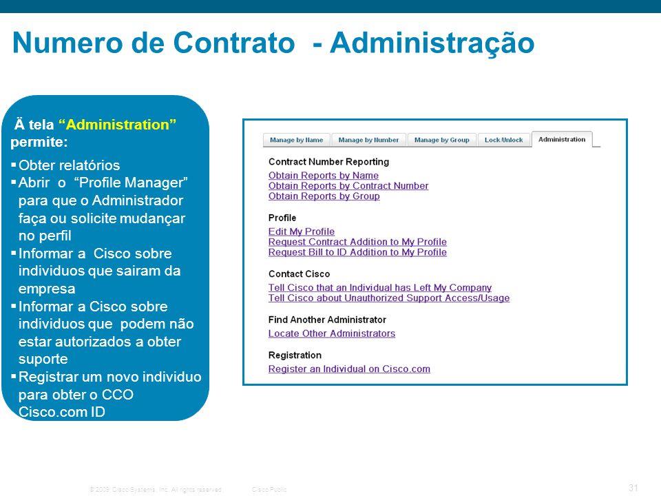 Numero de Contrato - Administração
