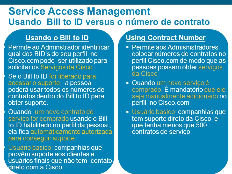 Service Access Management Usando Bill to ID versus o número de contrato