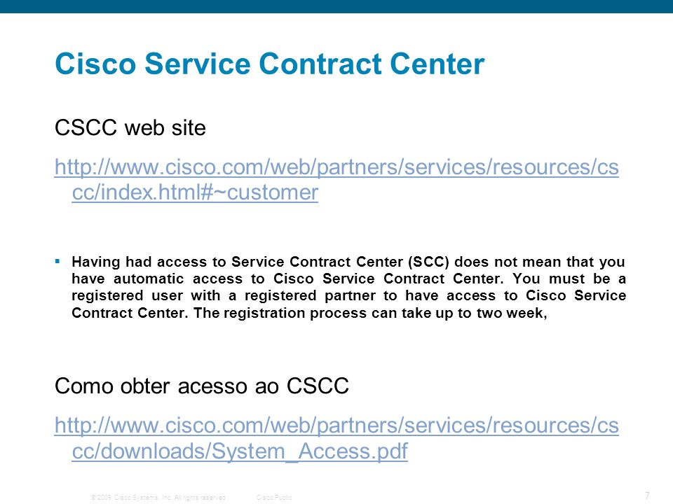 Cisco Service Contract Center