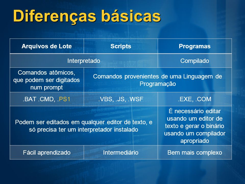 Diferenças básicas Arquivos de Lote Scripts Programas Interpretado