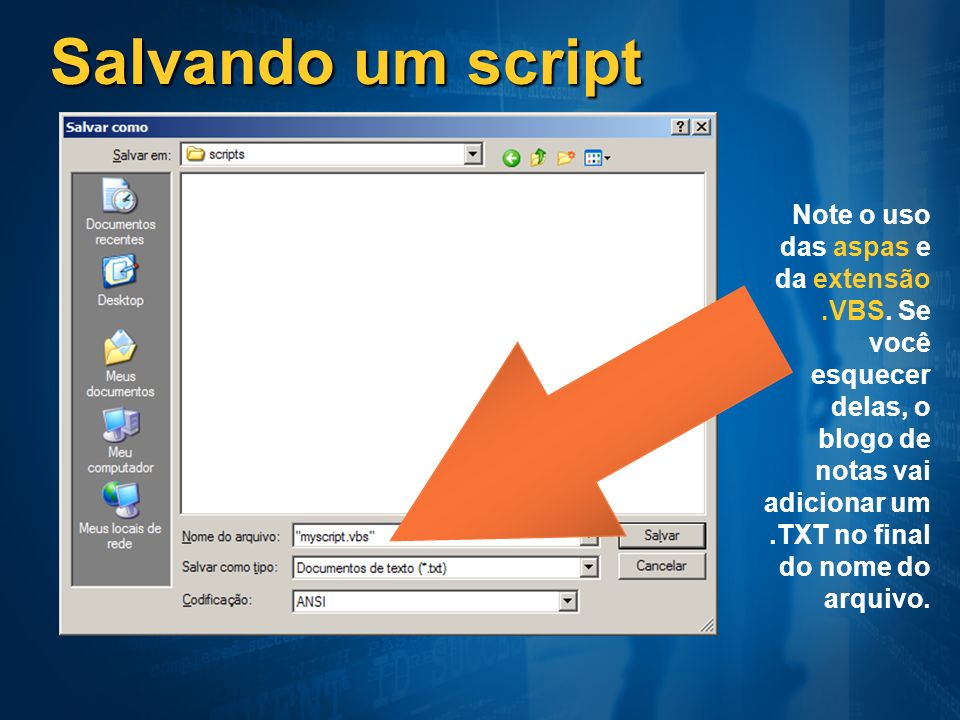 Salvando um script