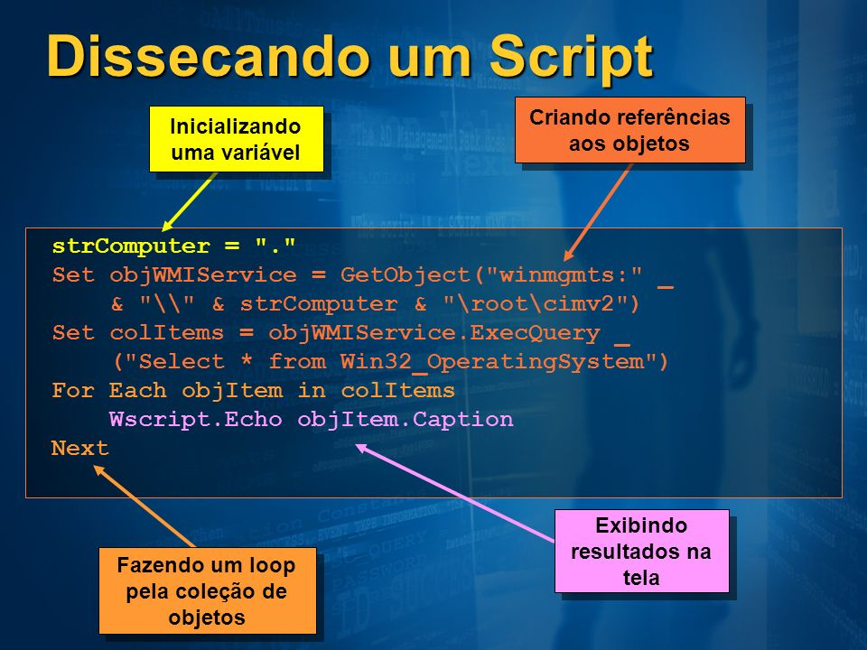 Dissecando um Script strComputer = .