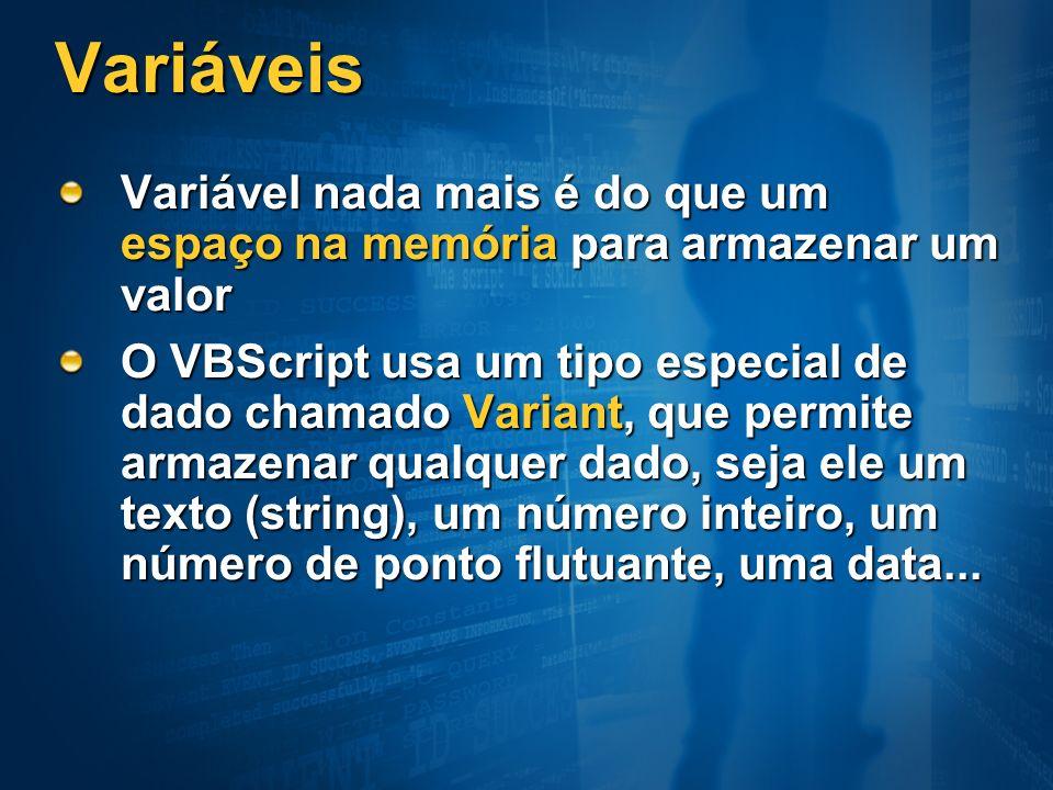 Variáveis Variável nada mais é do que um espaço na memória para armazenar um valor.