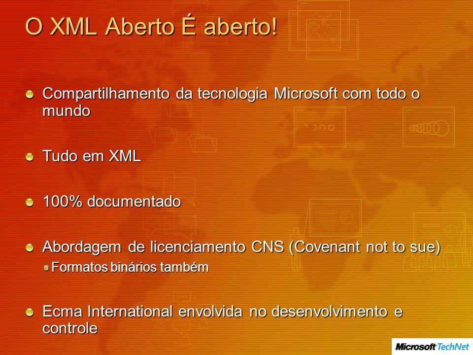 O XML Aberto É aberto! Compartilhamento da tecnologia Microsoft com todo o mundo. Tudo em XML. 100% documentado.