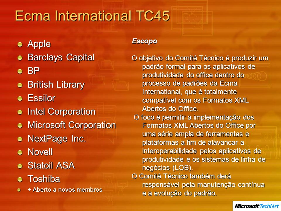 Ecma International TC45 Apple Barclays Capital BP British Library