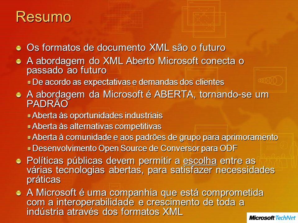 Resumo Os formatos de documento XML são o futuro