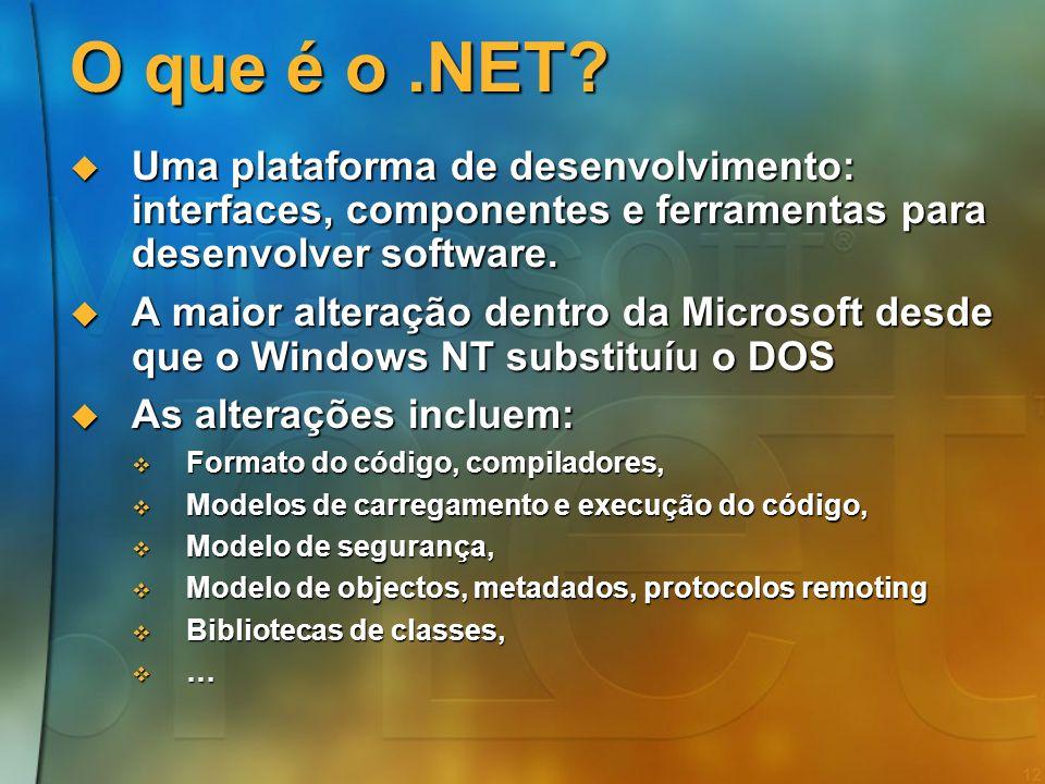 O que é o .NET Uma plataforma de desenvolvimento: interfaces, componentes e ferramentas para desenvolver software.