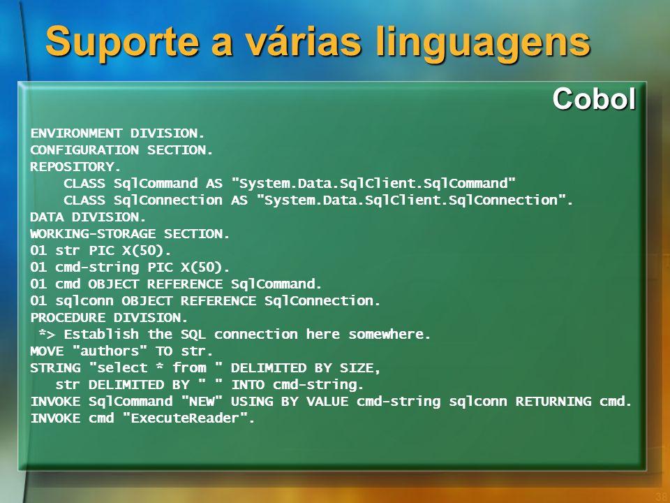 Suporte a várias linguagens