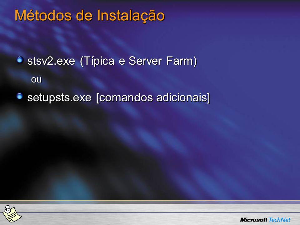 Métodos de Instalação stsv2.exe (Típica e Server Farm)