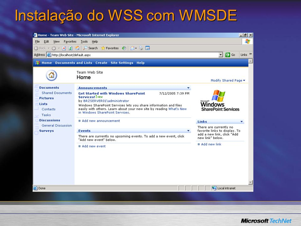Instalação do WSS com WMSDE