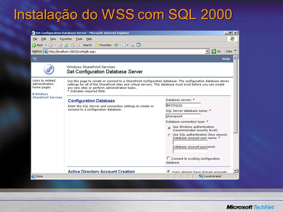 Instalação do WSS com SQL 2000