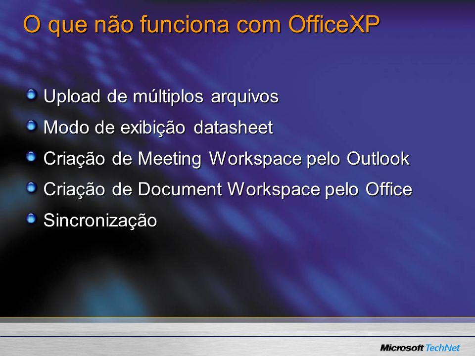 O que não funciona com OfficeXP
