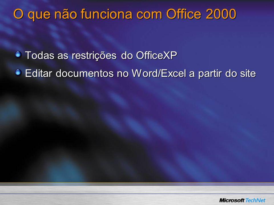 O que não funciona com Office 2000