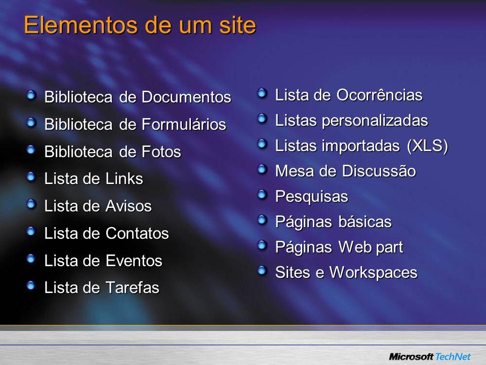 Elementos de um site Biblioteca de Documentos