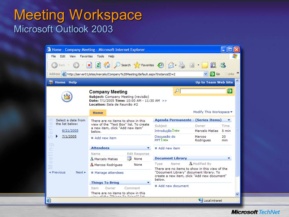 Meeting Workspace Microsoft Outlook 2003