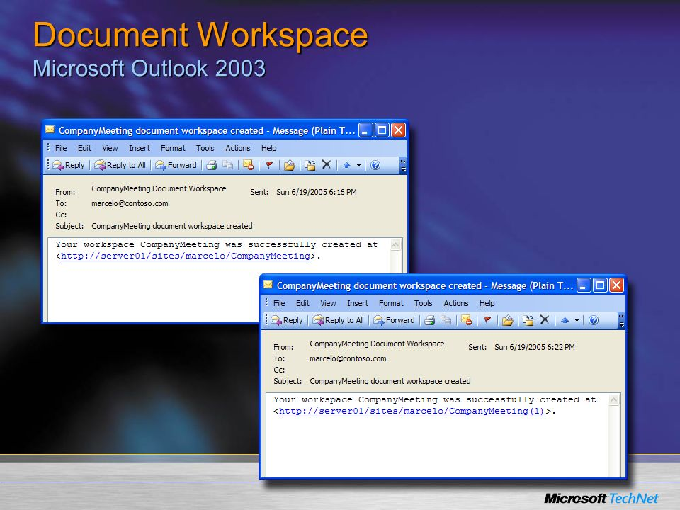 Document Workspace Microsoft Outlook 2003