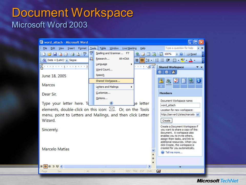 Document Workspace Microsoft Word 2003