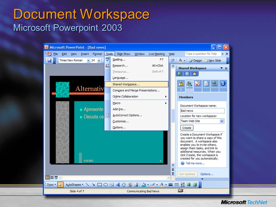 Document Workspace Microsoft Powerpoint 2003