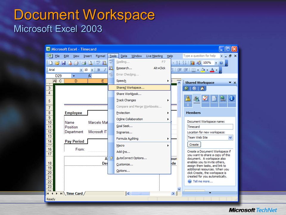 Document Workspace Microsoft Excel 2003