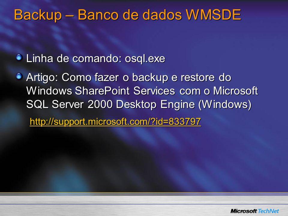 Backup – Banco de dados WMSDE