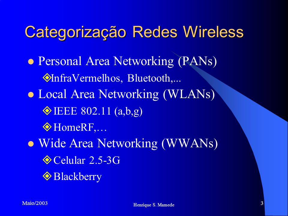 Categorização Redes Wireless