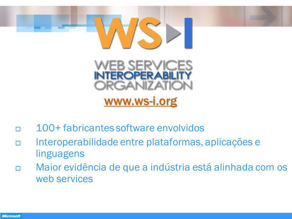 www.ws-i.org 100+ fabricantes software envolvidos