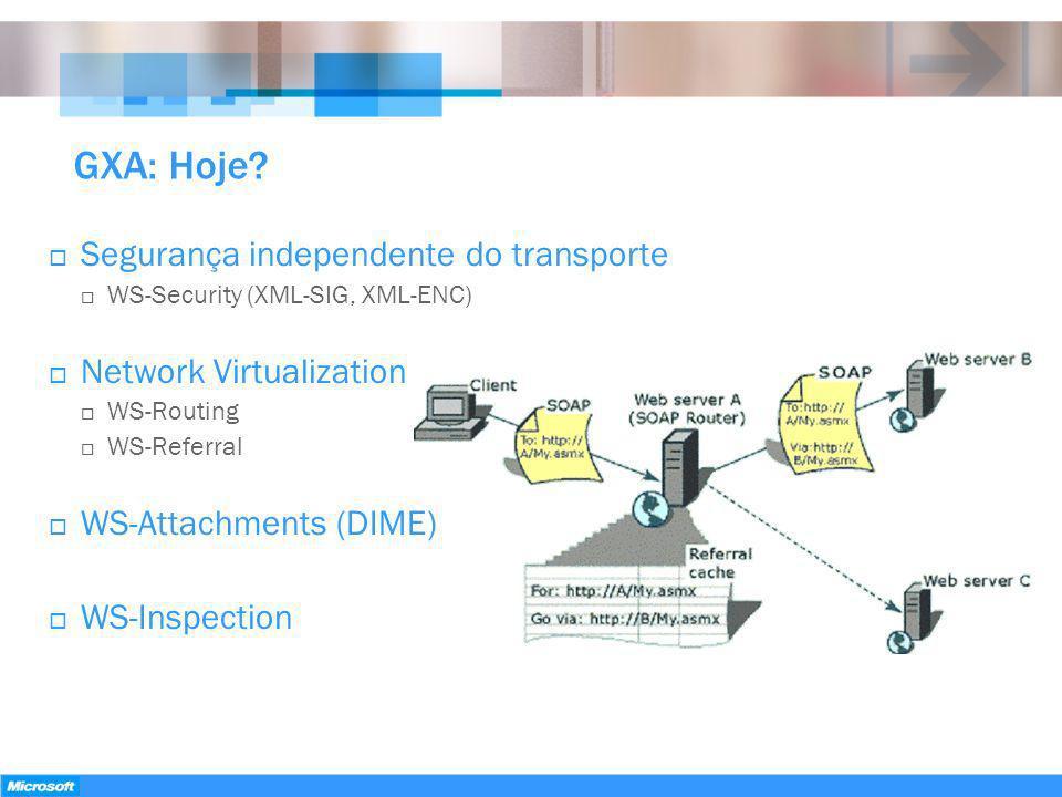 GXA: Hoje Segurança independente do transporte Network Virtualization