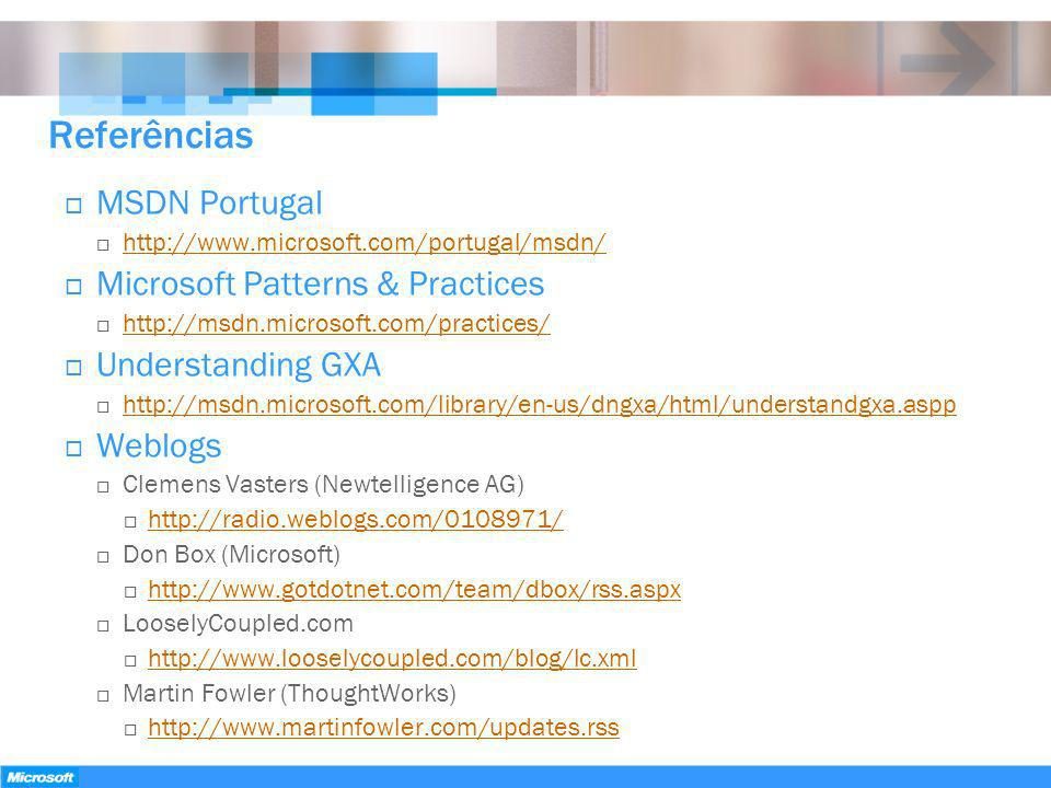 Referências MSDN Portugal Microsoft Patterns & Practices