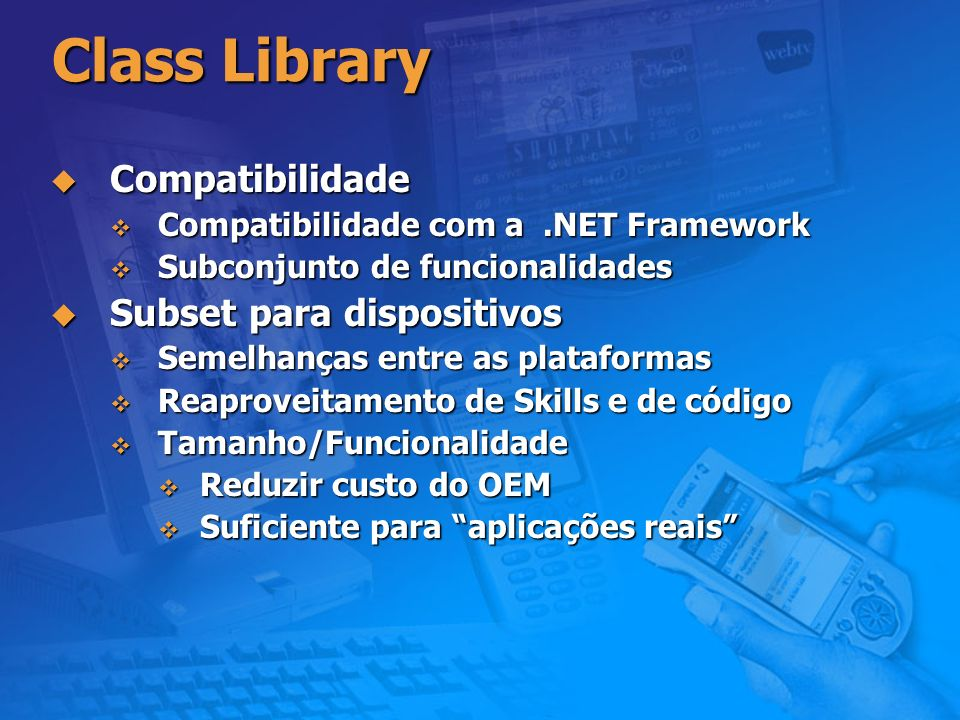 Class Library Compatibilidade Subset para dispositivos
