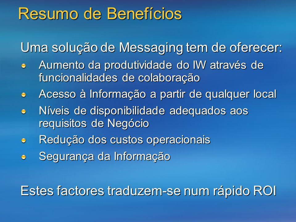Resumo de Benefícios Uma solução de Messaging tem de oferecer: