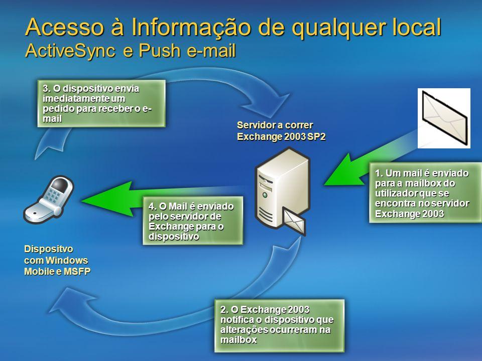 Acesso à Informação de qualquer local ActiveSync e Push e-mail