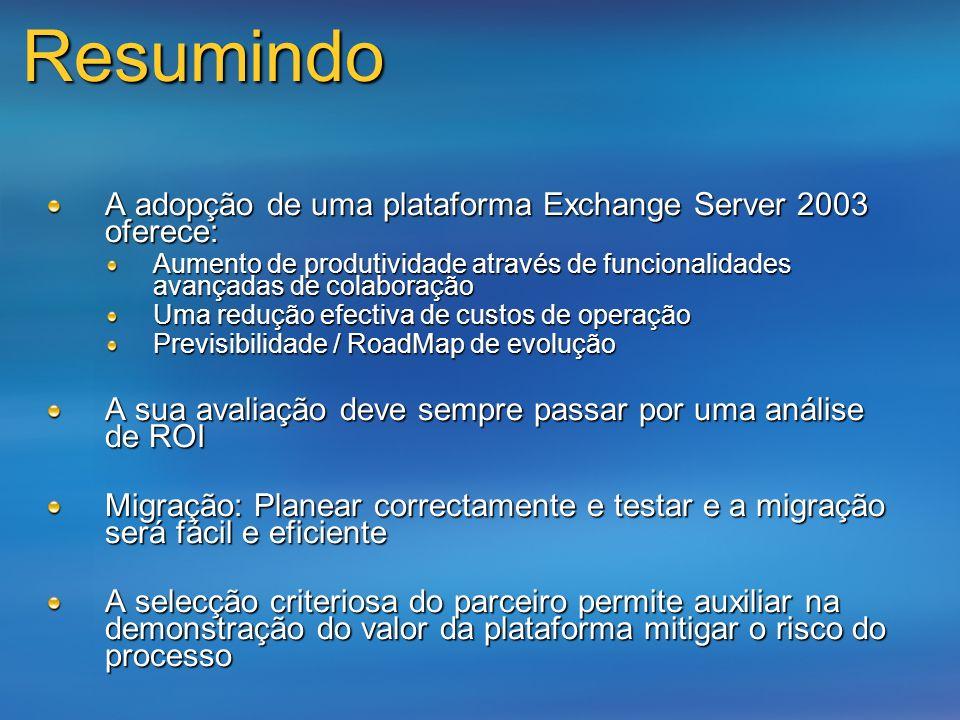 Resumindo A adopção de uma plataforma Exchange Server 2003 oferece: