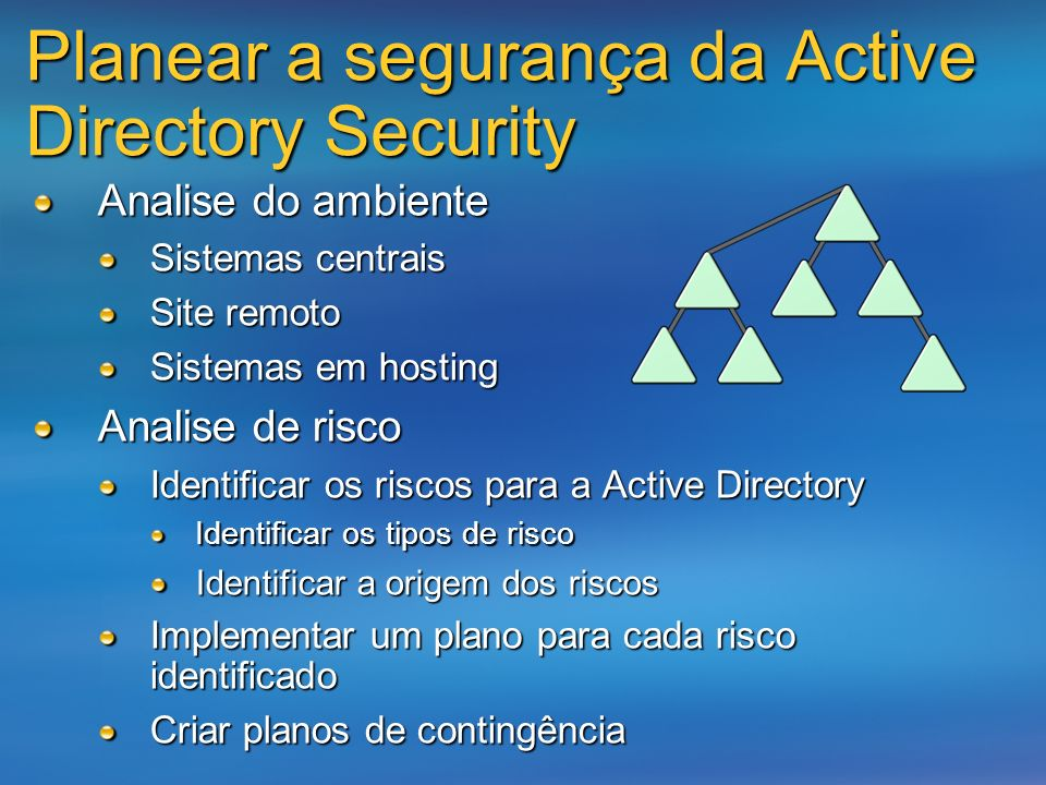 Planear a segurança da Active Directory Security