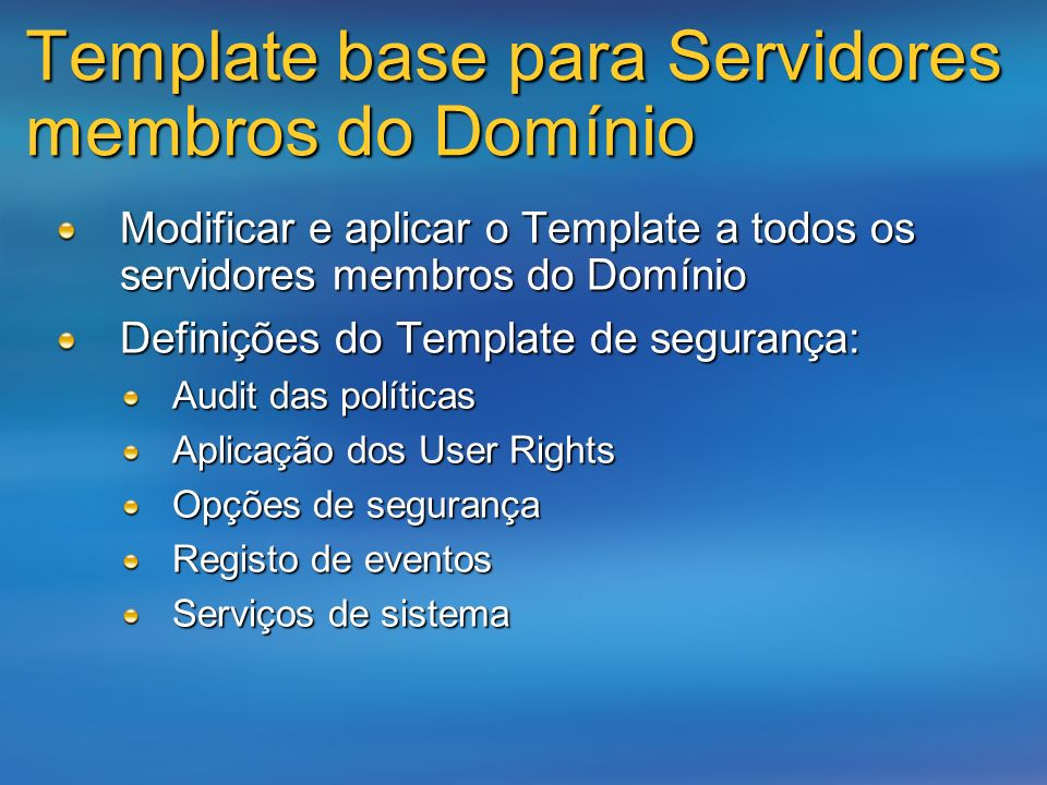 Template base para Servidores membros do Domínio