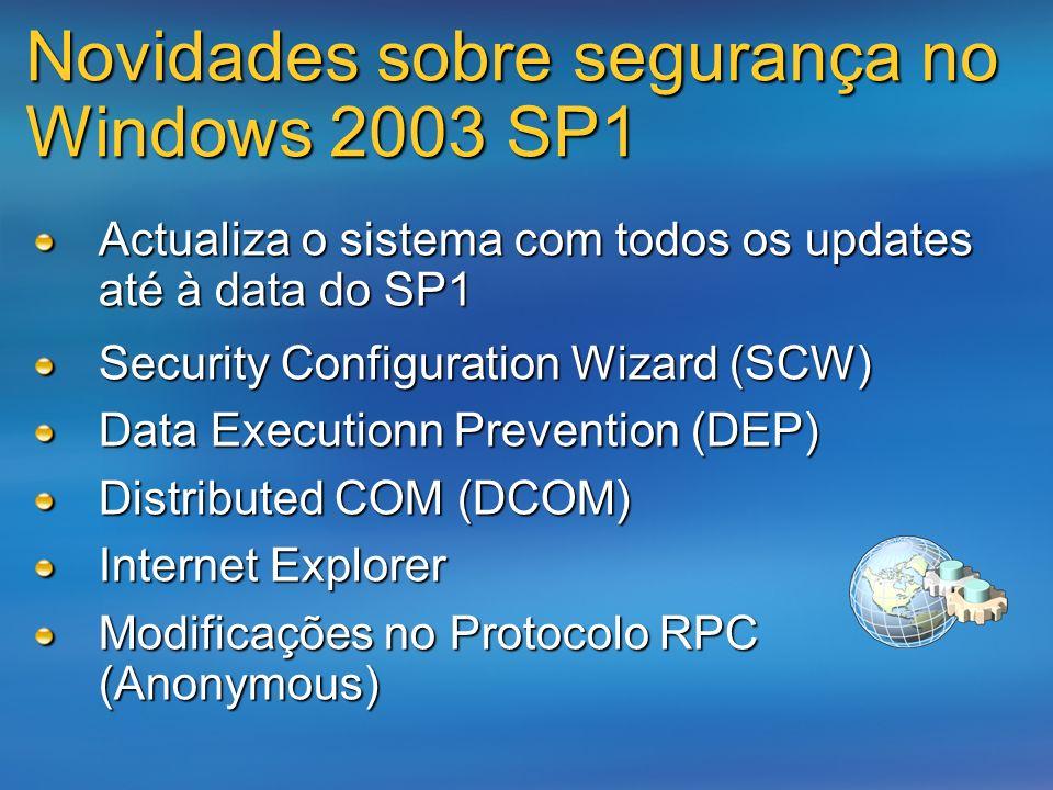 Novidades sobre segurança no Windows 2003 SP1