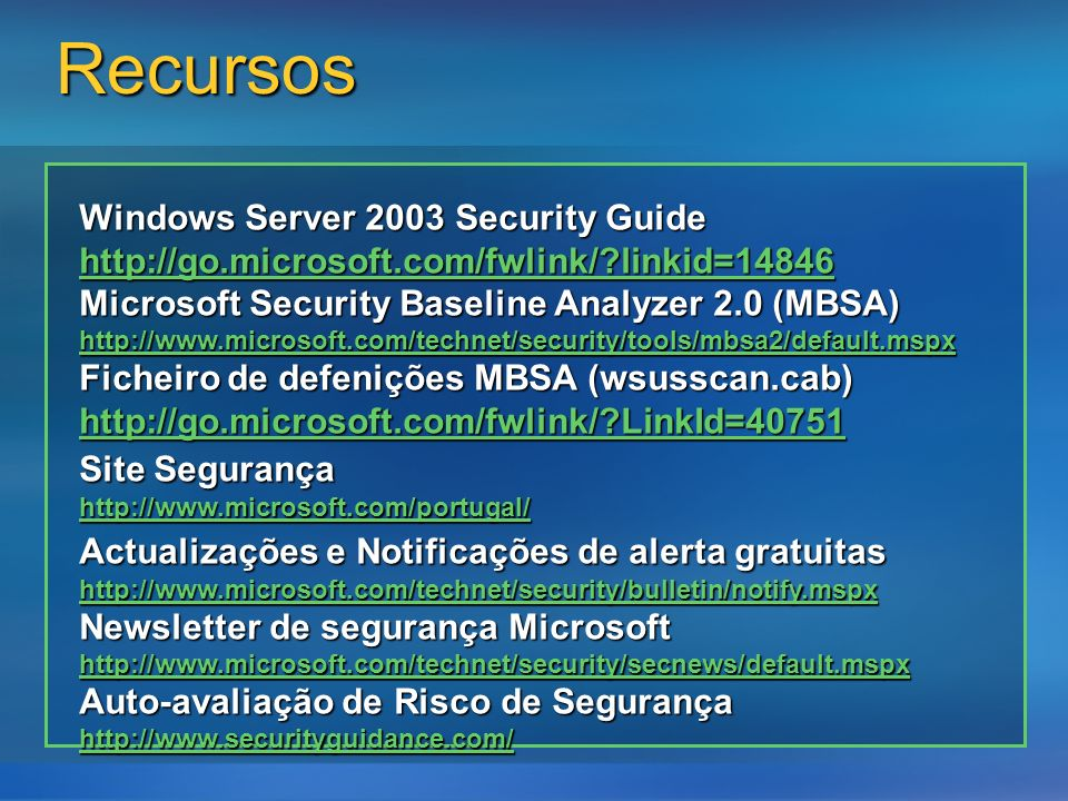 Recursos Windows Server 2003 Security Guide