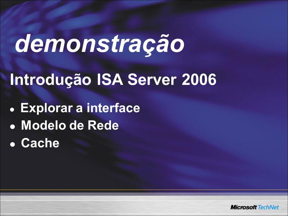 demonstração Demo Introdução ISA Server 2006 Modelo de Rede Cache