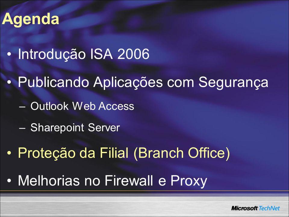 Agenda Introdução ISA 2006 Publicando Aplicações com Segurança