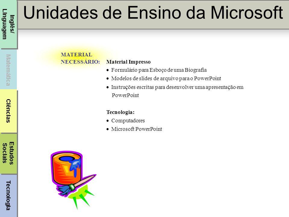 MATERIAL NECESSÁRIO: Material Impresso. · Formulário para Esboço de uma Biografia. · Modelos de slides de arquivo para o PowerPoint.