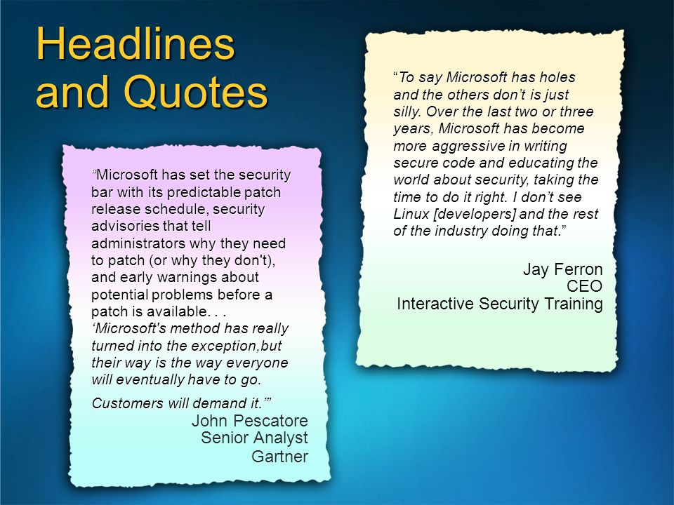 Headlines and Quotes Jay Ferron CEO Interactive Security Training