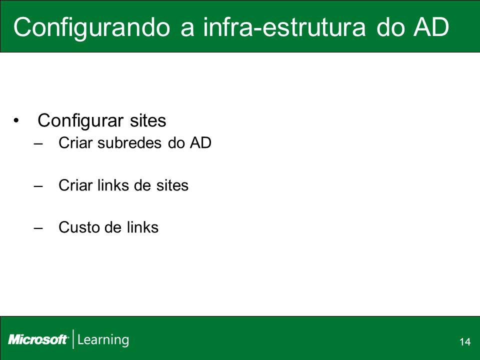Configurando a infra-estrutura do AD