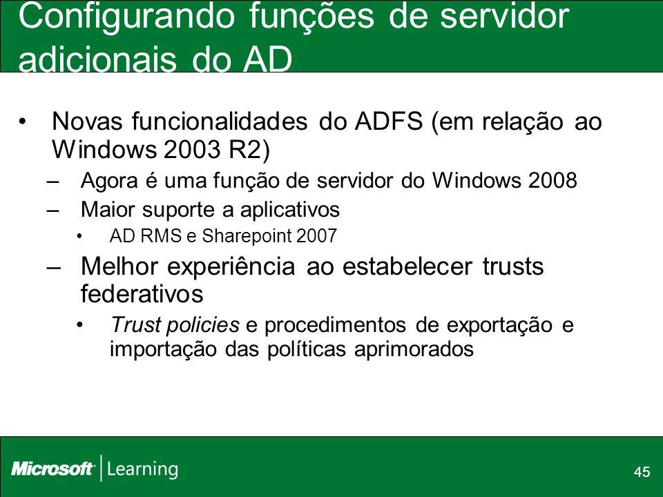 Configurando funções de servidor adicionais do AD