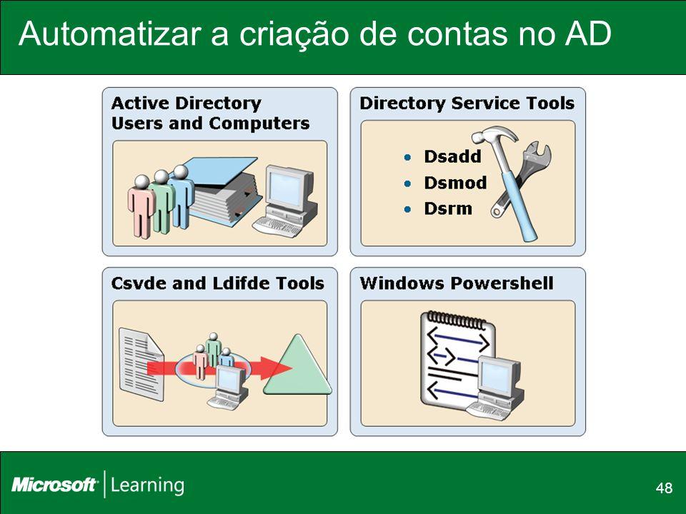 Automatizar a criação de contas no AD
