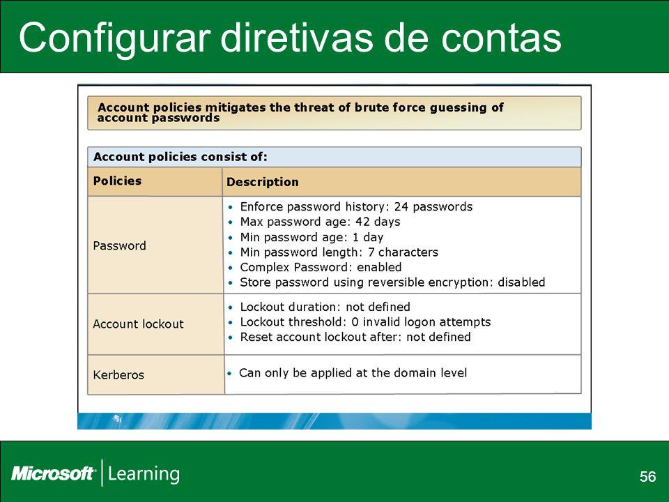 Configurar diretivas de contas
