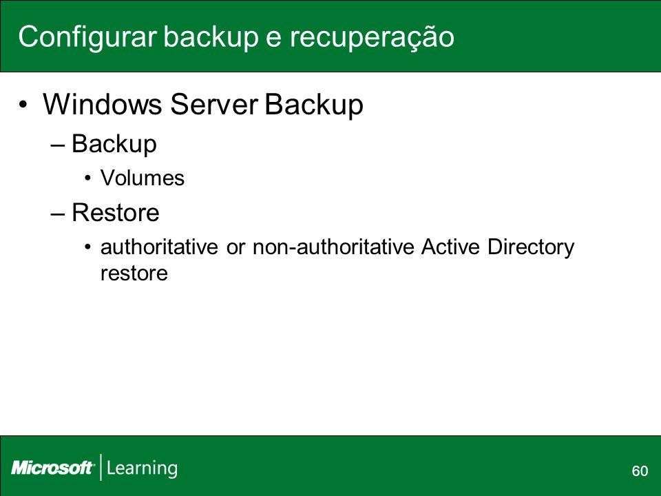 Configurar backup e recuperação