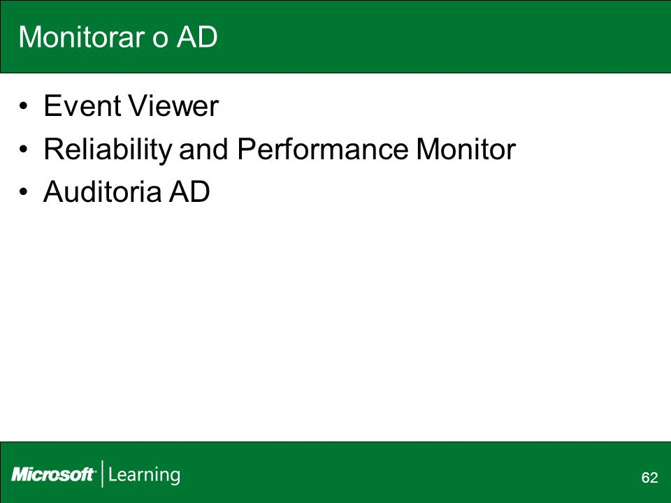 Reliability and Performance Monitor Auditoria AD