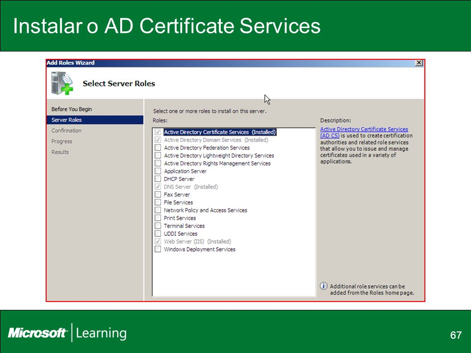Instalar o AD Certificate Services