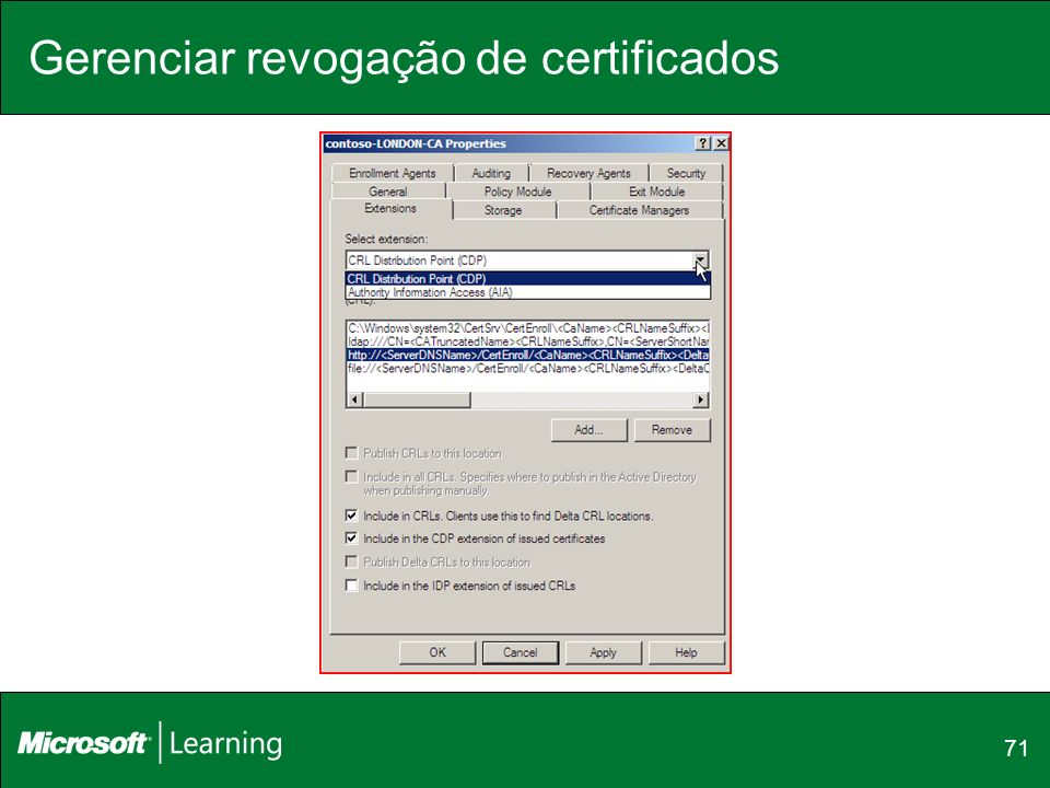 Gerenciar revogação de certificados