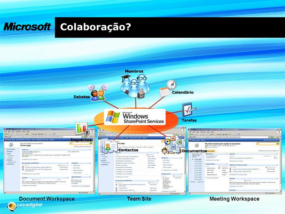 Colaboração Document Workspace Team Site Meeting Workspace